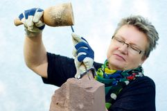 Female Stonemason Royalty Free Stock Images