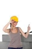 Female stonemason. Giving the thumb's up Stock Images