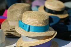 Female straw hats. Stock Photography