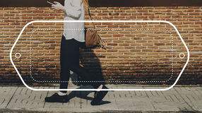 Female Streetwalk Outdoors Banner Graphic Concept Royalty Free Stock Images