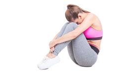 Female stretching her spine after workout Royalty Free Stock Photo