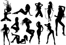 Female Stripper Silhouettes Stock Photo
