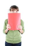 Female student. A smiling female student holding a book isolated on white background royalty free stock images