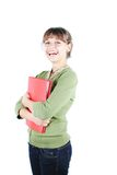 Female student. A smiling female student holding a book isolated on white background stock image