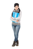 Female student. Isolated over a white background Royalty Free Stock Photo