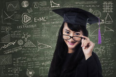 Female student in an academic gown Royalty Free Stock Photography