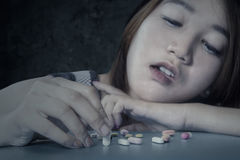 Female student addicted narcotic Stock Photography