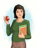 Female student with apple Royalty Free Stock Photo