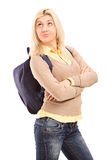 Female student with backpack thinking Stock Images