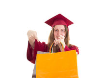 Female student with bags Stock Images