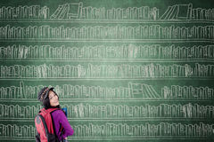 Female student with big bookshelf. Female high school student smiling at the camera while standing with a big bookshelf on the chalkboard royalty free stock images