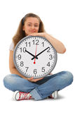 Female student with big clock Stock Photography
