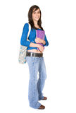 Female student with books and bag Stock Photography