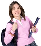 Female student with books and bag Royalty Free Stock Photo