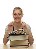 Female student breaking pencil Stock Photo