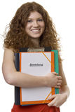 Female student with briefcase application royalty free stock photo