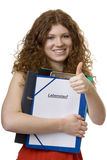 Female student with briefcase curriculum vitae. Documents for the job search Stock Photo