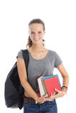 Female student with bunch of books Royalty Free Stock Photography
