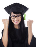 Female student celebrate her graduation 1 Royalty Free Stock Image
