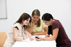 Female student in classroom royalty free stock photography