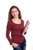 Female student with clipboard Royalty Free Stock Image