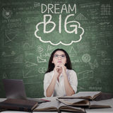 Female student and Dream Big word Stock Image