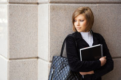 Female student before exam Royalty Free Stock Photos