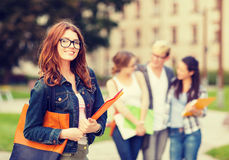 Female student in eyglasses with folders Stock Image