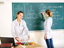 Female student with flask. Stock Photos