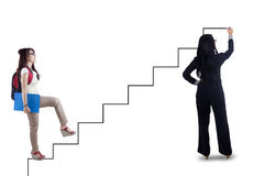 Female student follows the stair guide Stock Photos