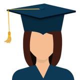 Female student graduation avatar profile. Stock Photos