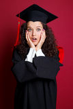 Female student in graduation gown Stock Photo