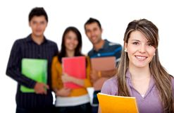 Female student with a group Stock Image