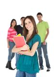 Female student with a group Royalty Free Stock Photos