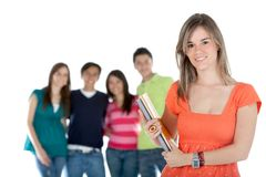 Female student with a group Royalty Free Stock Images