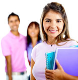 Female student with a group Stock Photos