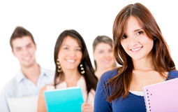 Female student with a group Royalty Free Stock Photo