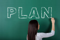 Female student has got a plan Royalty Free Stock Photo