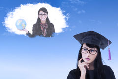 Female student with her dream Royalty Free Stock Photo