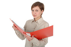 Female student holding a binder. Young woman holding a binder Stock Photography