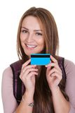 Female Student Holding Credit Card Stock Photos