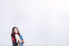 Female student holding a folder Stock Photos