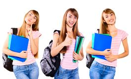 Female student holding notebook and smiling Royalty Free Stock Photography