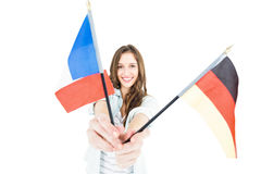 Female student holding several flags Stock Images