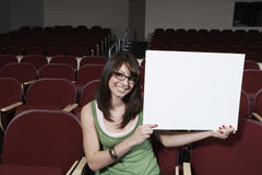 Female Student Holding Sign Board Royalty Free Stock Image
