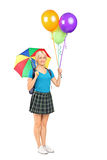 Female student holding an umbrella and balloons Stock Photo