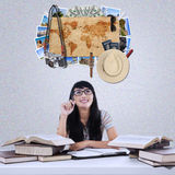 Female student imagine famous vacation place Stock Images