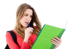 Female student isolated Stock Images