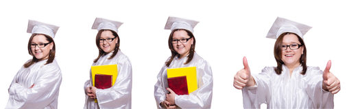 The female student isolated on white Royalty Free Stock Image