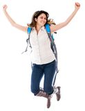 Female student jumping Stock Photos